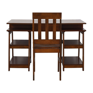 Single Drawer Wood Desk with Shelves & Chair sale