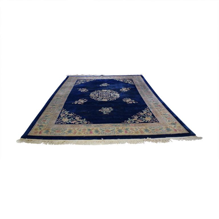 Kurdistan Royal Blue Oriental Floral Rug Decor