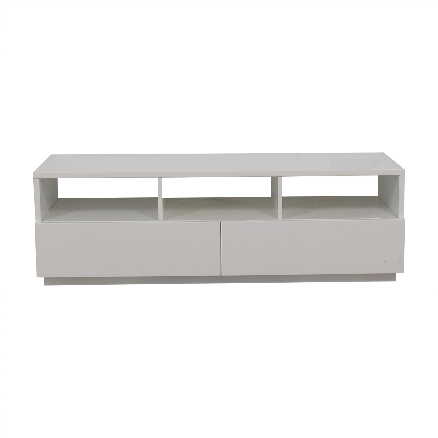 West Elm Chill White Two-Drawer Entertainment Stand West Elm