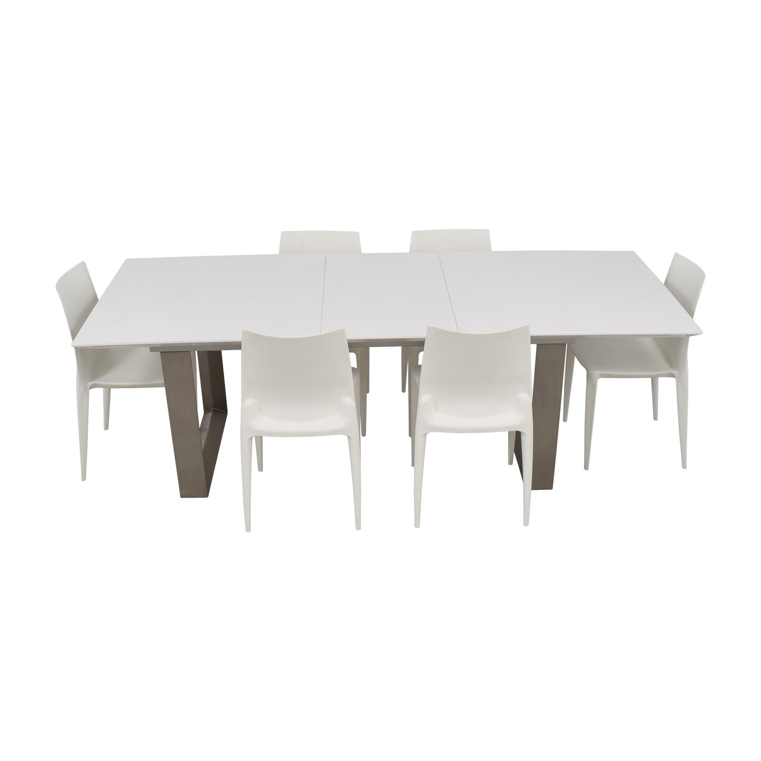 Room & Board Extendable White and Chrome  Dining Set sale