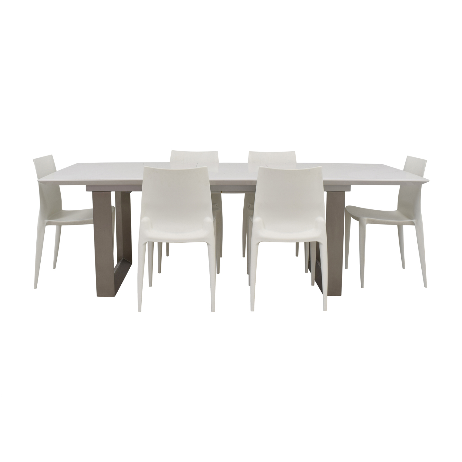 Room & Board Room & Board Extendable White and Chrome  Dining Set nj