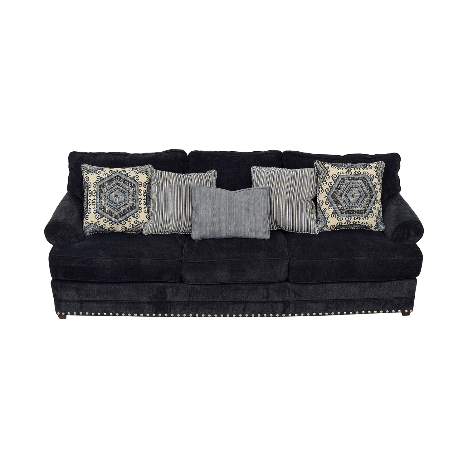 Bob's Furniture Bob's Furniture Dakota Navy Nailhead Three-Cushion Sofa coupon