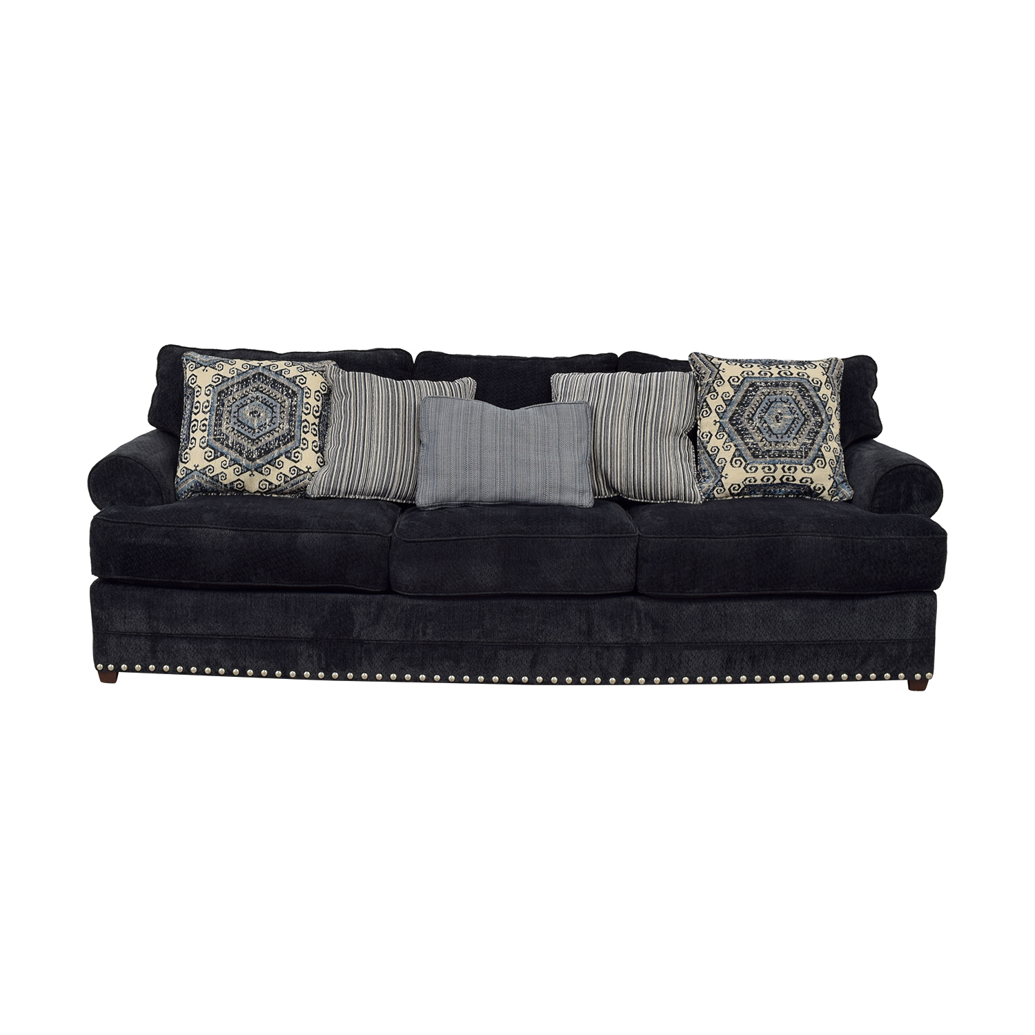 shop Bob's Furniture Dakota Navy Nailhead Three-Cushion Sofa Bob's Furniture Classic Sofas
