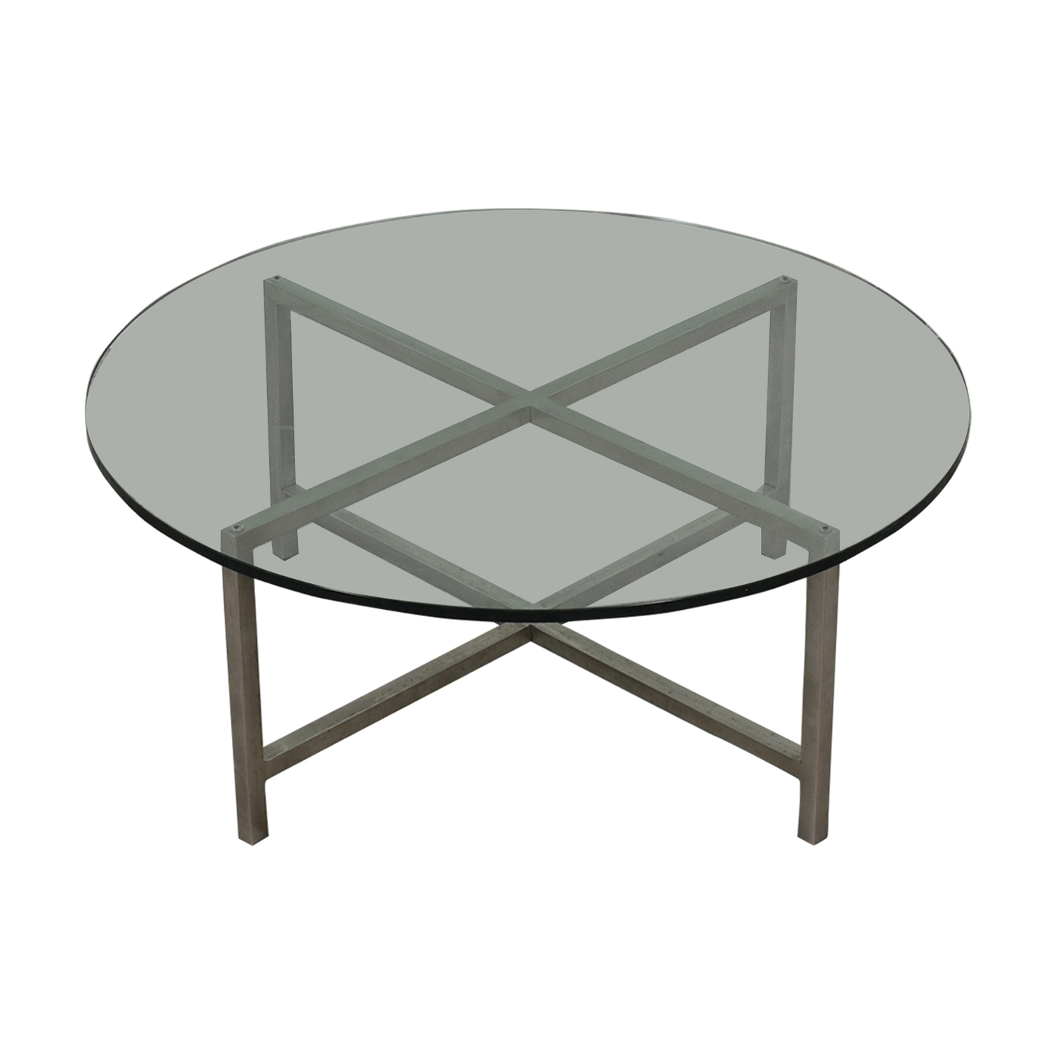 buy Crate & Barrel Crate & Barrel Round Glass and Chrome Table online