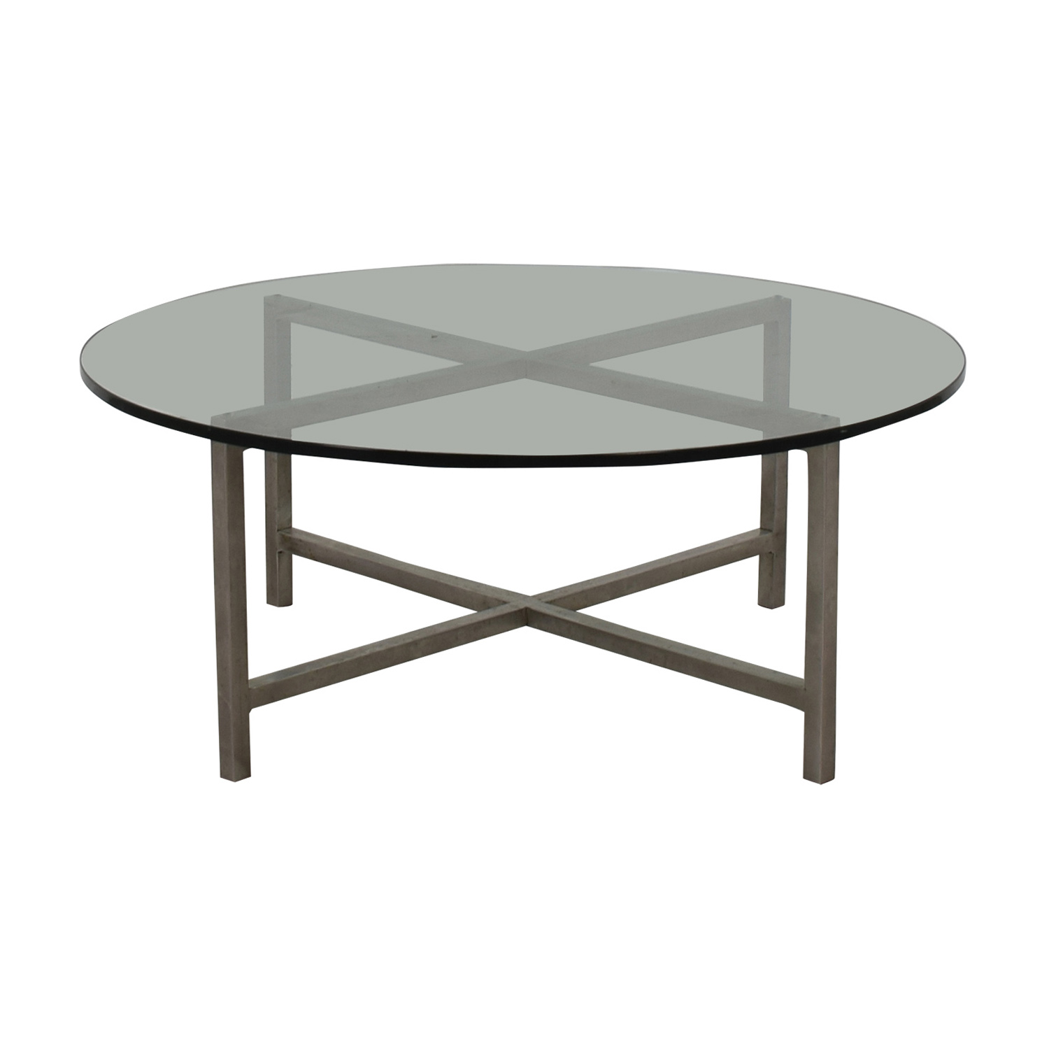 Crate & Barrel Round Glass and Chrome Table Crate & Barrel