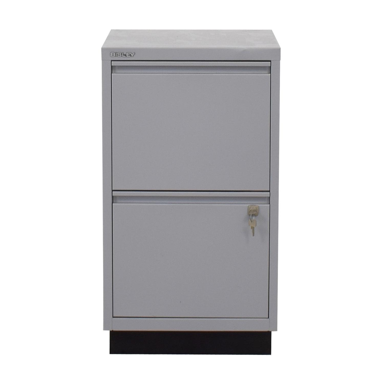 Bisley Grey Two Drawer Filing Cabinet / Storage