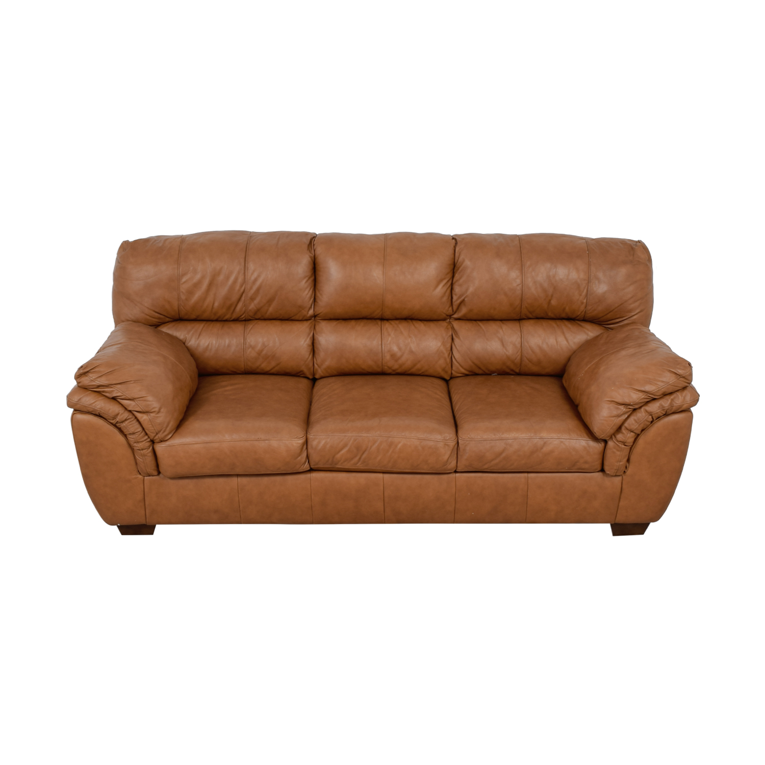 Ashley Furniture Bladen Cognac Leather Three-Cushion Sofa Ashley Furniture