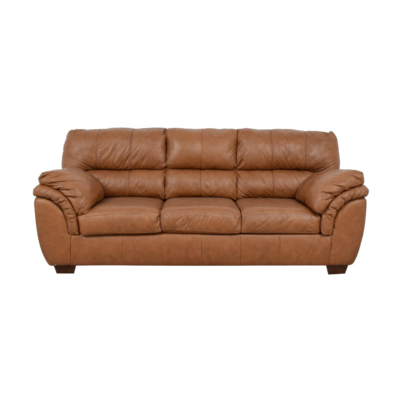 49% OFF - Ashley Furniture Ashley Furniture Bladen Cognac Leather  Three-Cushion Sofa / Sofas