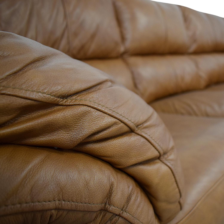 Ashley Furniture Ashley Furniture Bladen Cognac Leather Three-Cushion Sofa dimensions