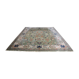 India Oriental Green Multi-Colored  Rug