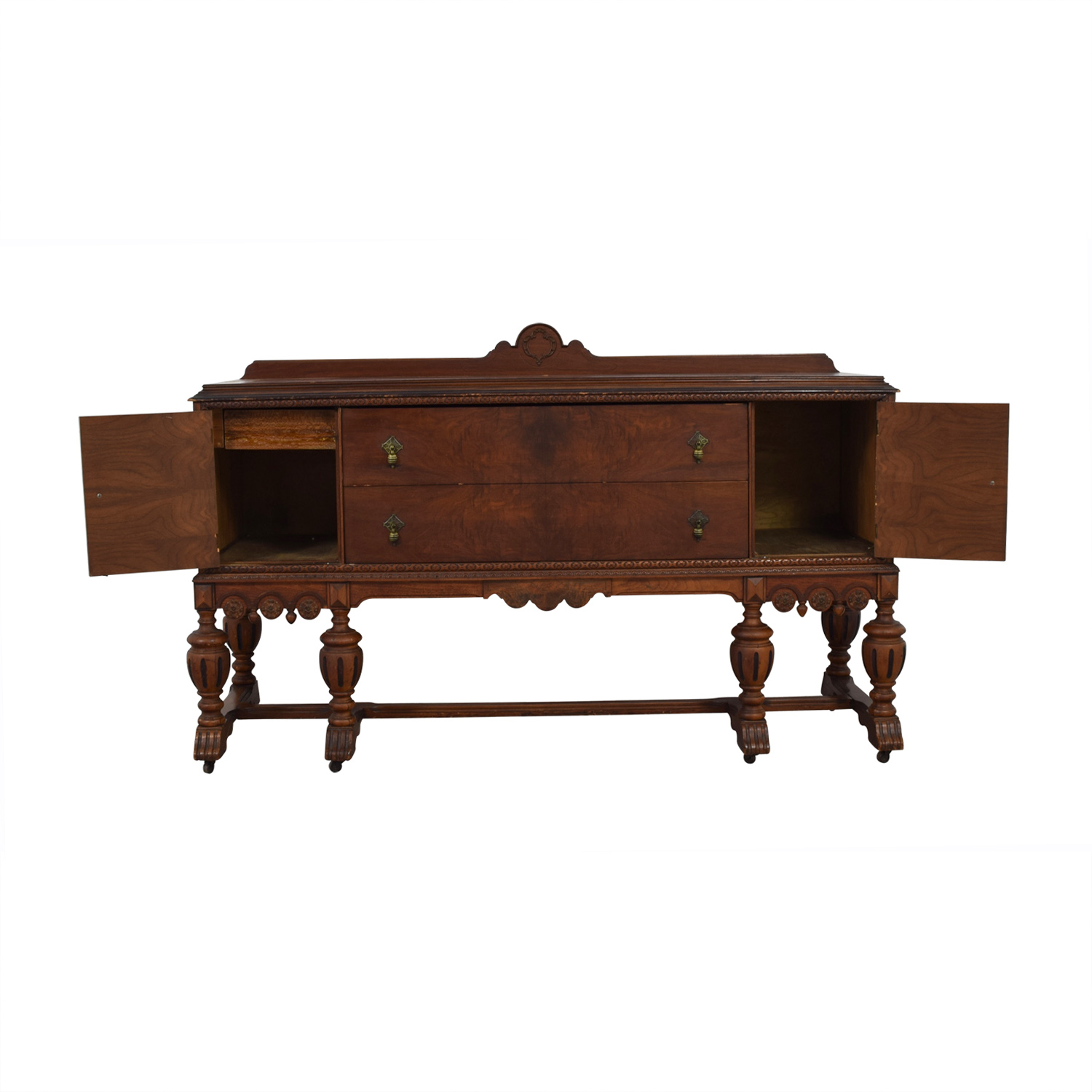 Antique Two-Drawer Wood Buffet Sideboard / Cabinets & Sideboards
