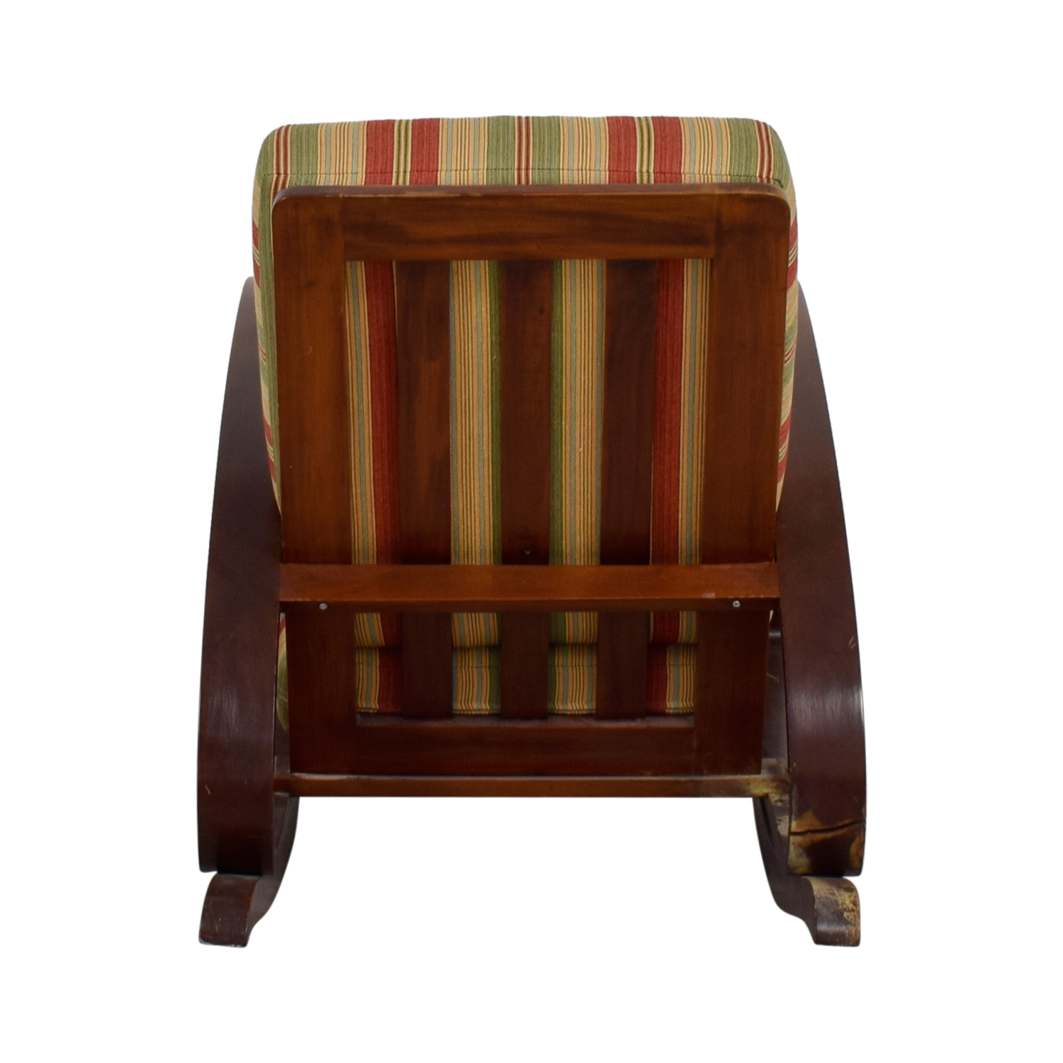 Antique Caribbean Striped Upholstery Wood Rocker nj