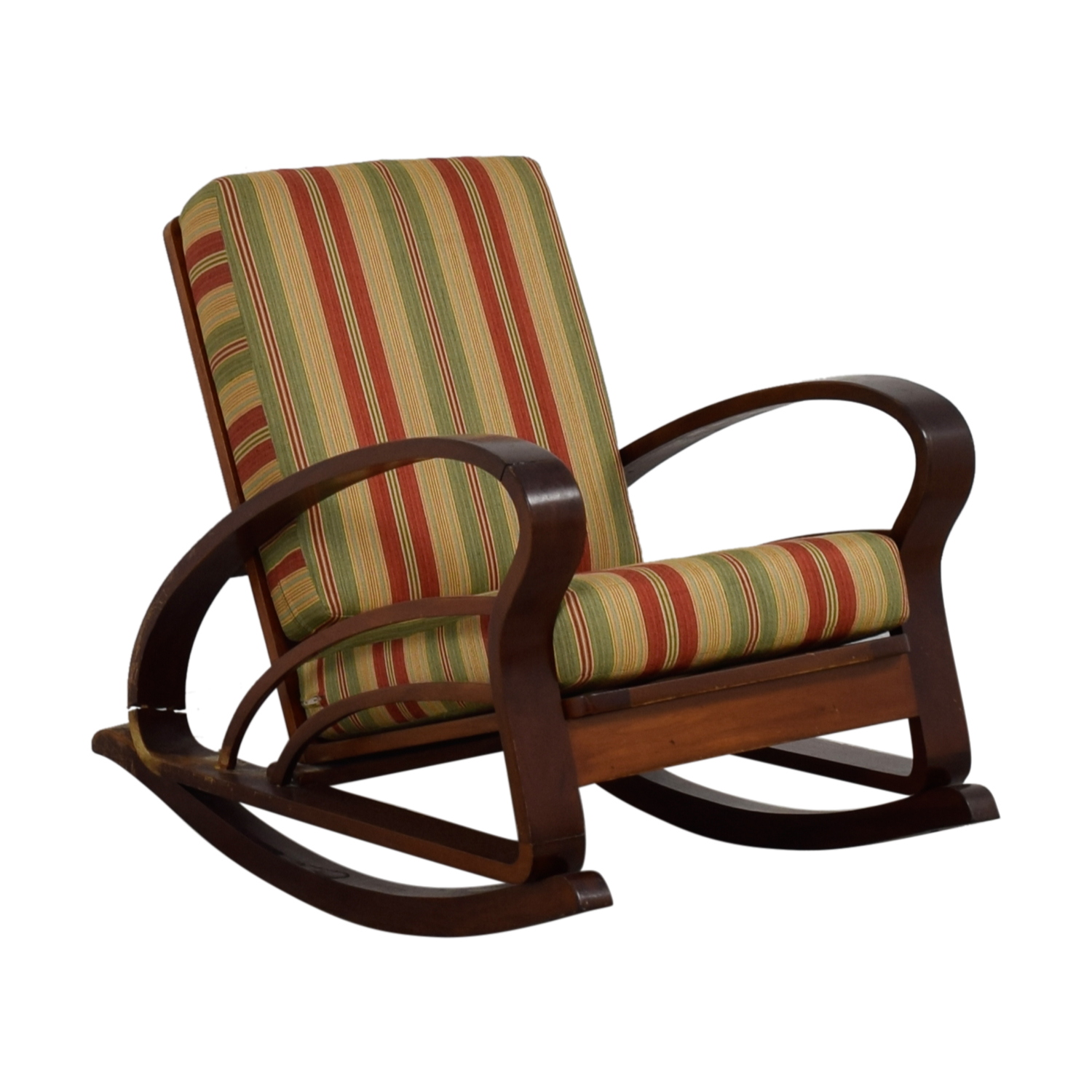 ... Buy Antique Caribbean Striped Upholstery Wood Rocker Accent Chairs ...
