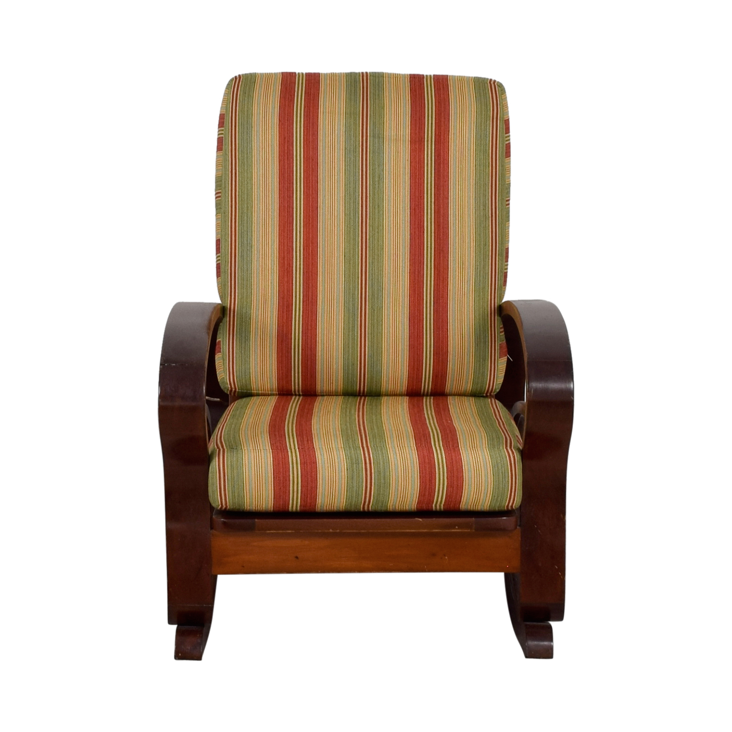 ... Antique Caribbean Striped Upholstery Wood Rocker / Accent Chairs ...