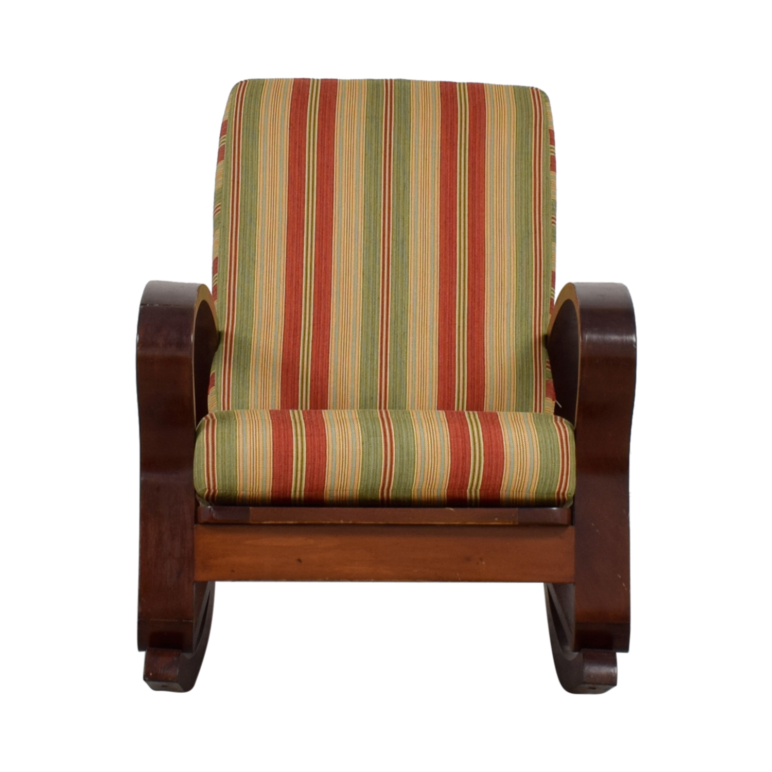 shop Antique Caribbean Striped Upholstery Wood Rocker  Sofas