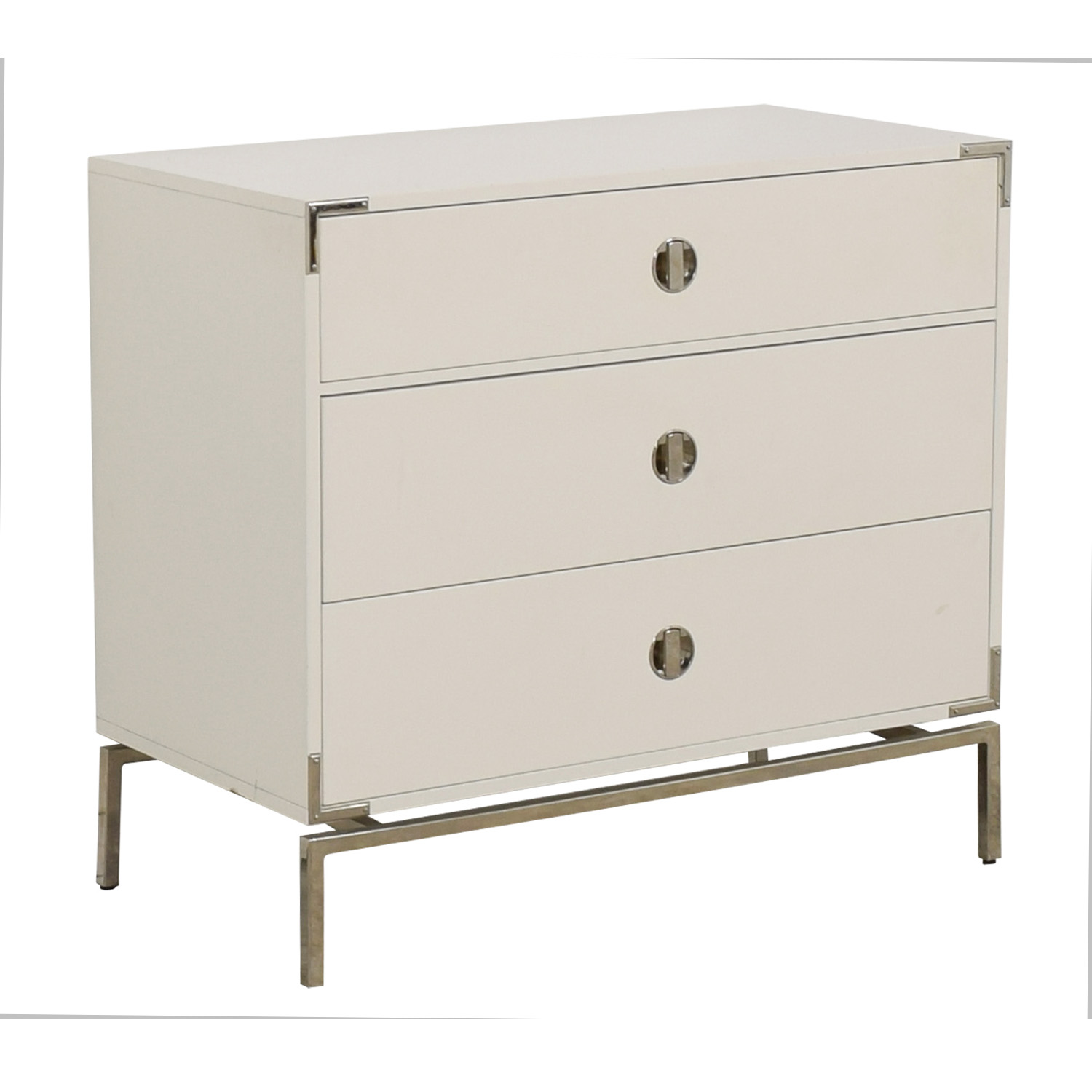 West Elm West Elm Malone Campaign White Lacquer Three-Drawer Dresser price