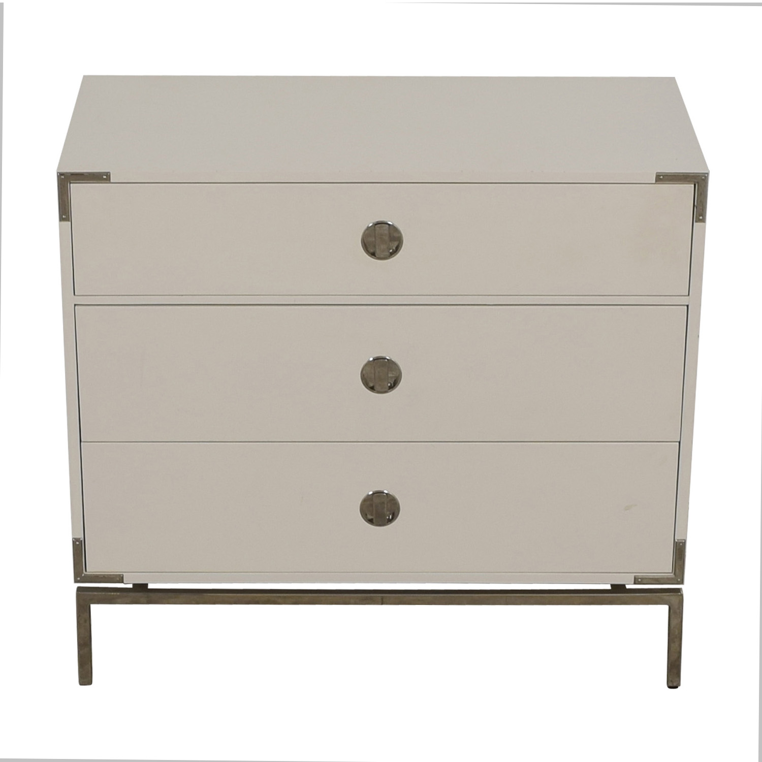 shop West Elm Malone Campaign White Lacquer Three-Drawer Dresser West Elm Dressers