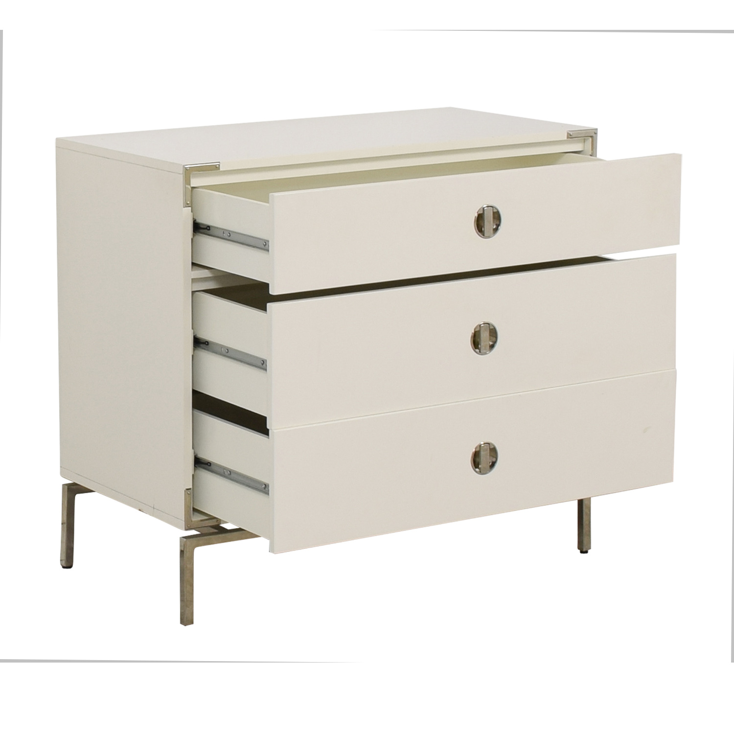 West Elm West Elm Malone Campaign White Lacquer Three-Drawer Dresser discount