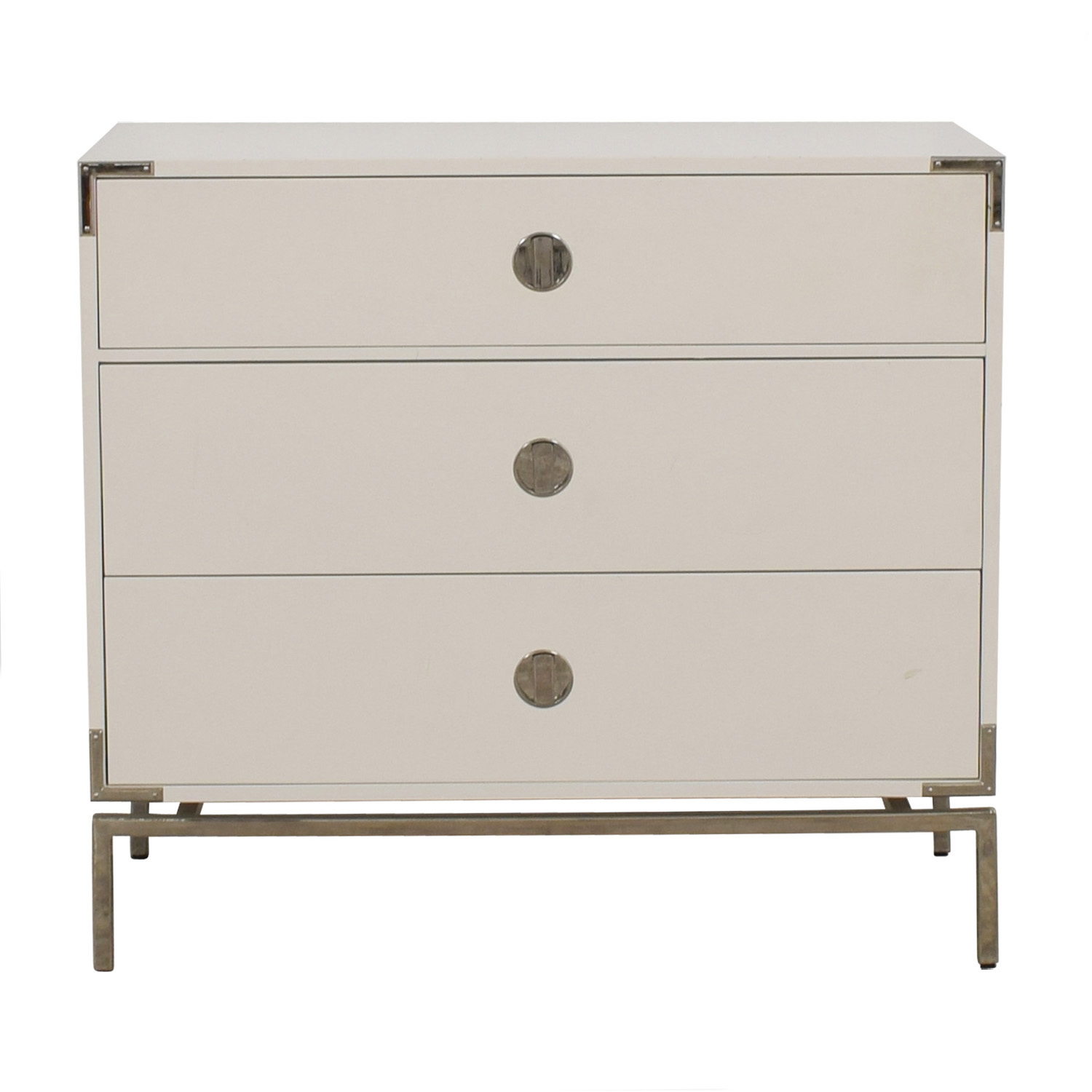 buy West Elm Malone Campaign White Lacquer Three-Drawer Dresser West Elm Storage