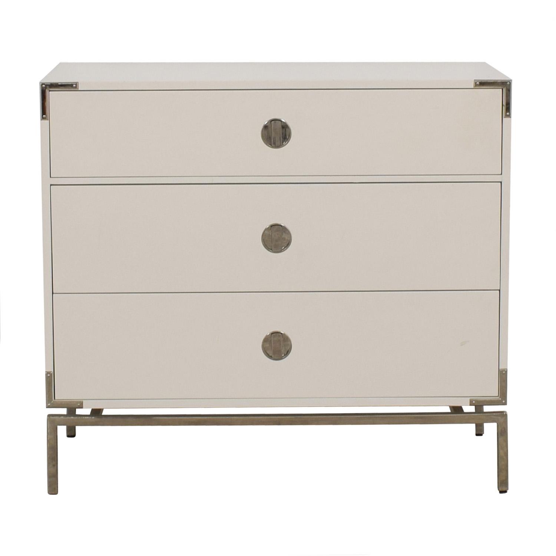 buy West Elm Malone Campaign White Lacquer Three-Drawer Dresser West Elm Storage