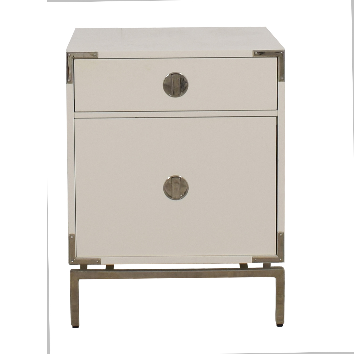 West Elm Malone White Campaign Store Nightstand sale