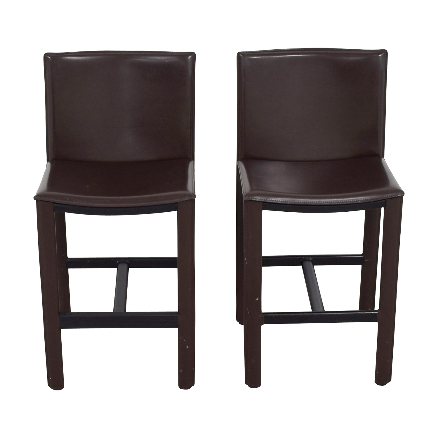 73 off room board room board brown leather bar stools chairs. Black Bedroom Furniture Sets. Home Design Ideas