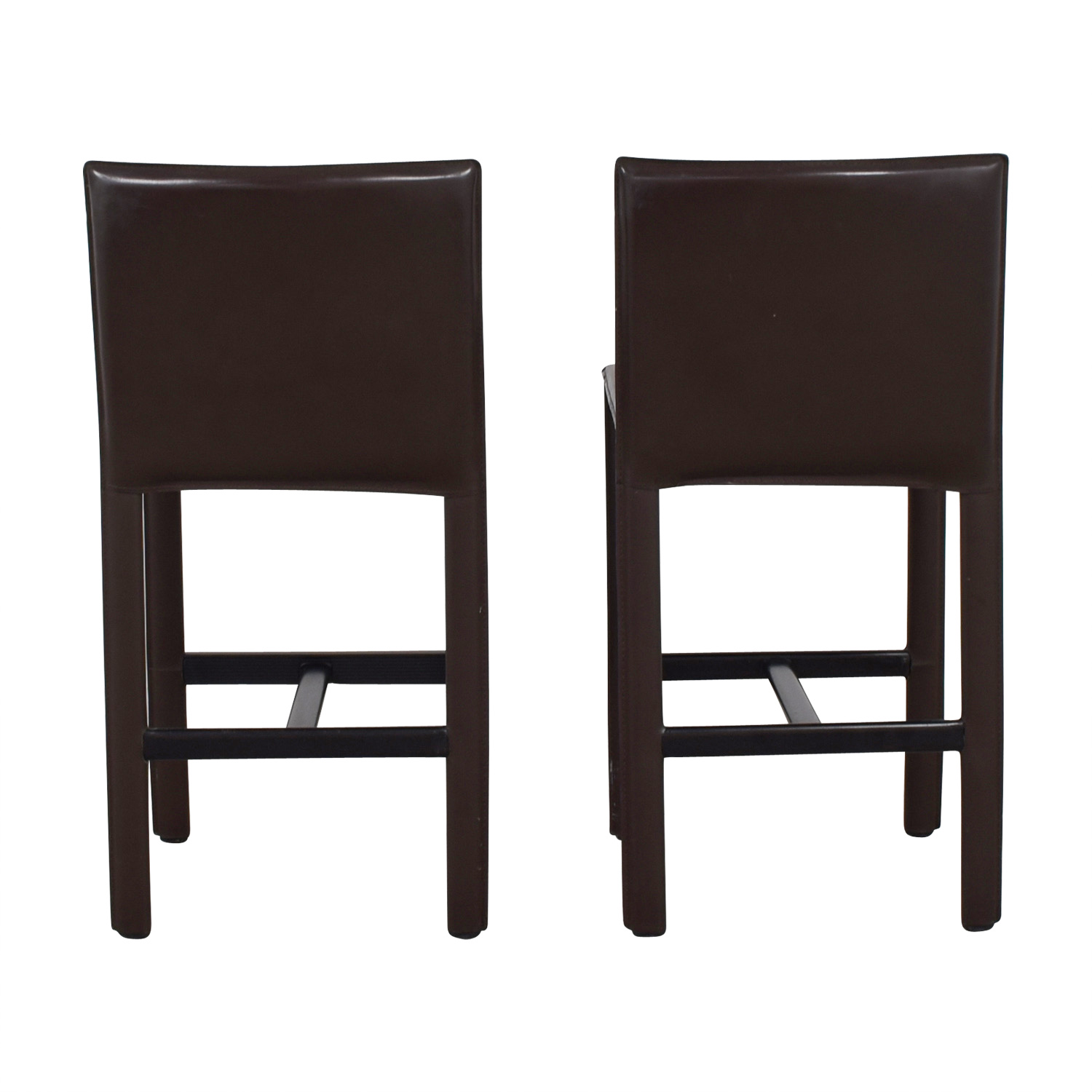 Room & Board Room & Board Brown Leather Bar Stools second hand