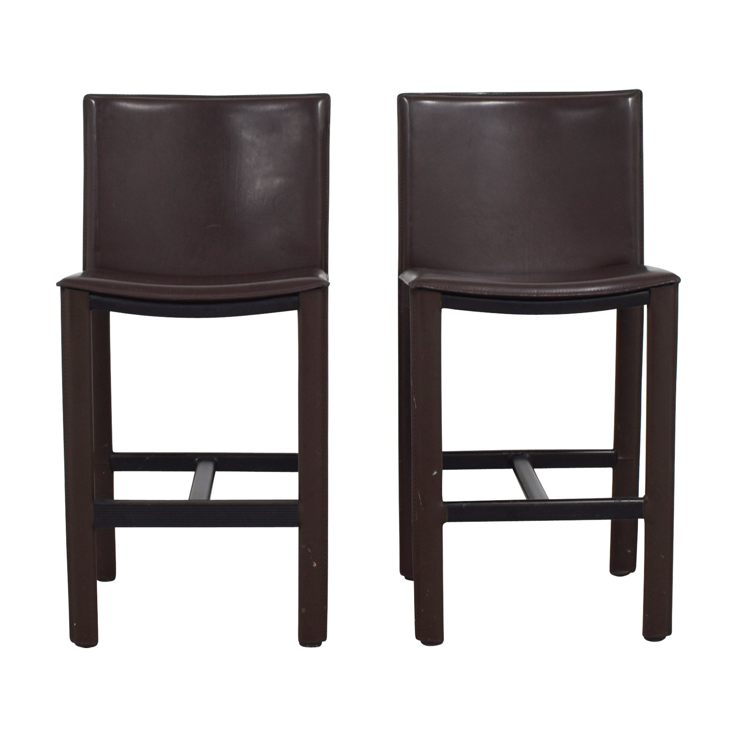 buy Room & Board Room & Board Brown Leather Bar Stools online