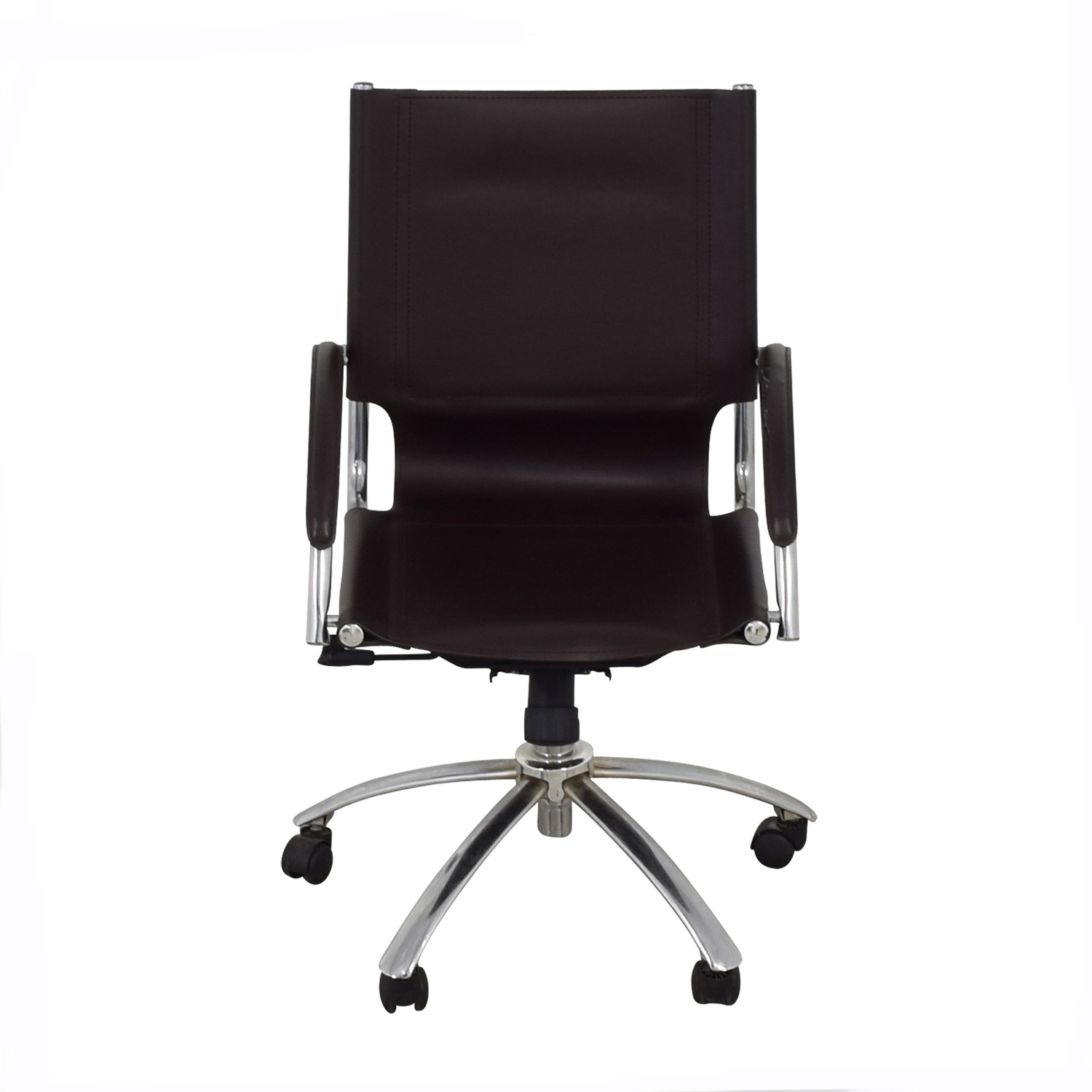 check out 770d6 608f0 90% OFF - West Elm West Elm Brown Leather Swivel Desk Chair / Chairs