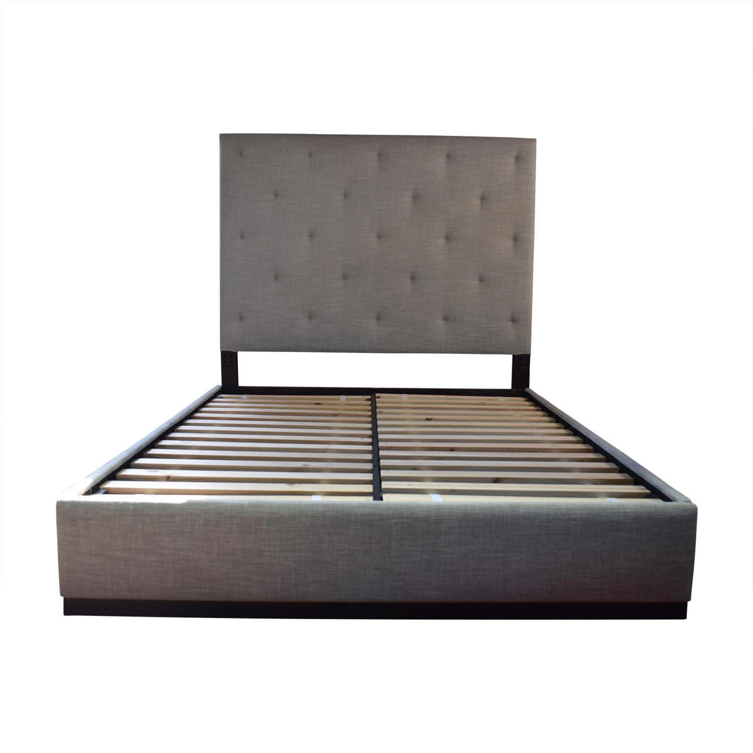 West Elm West Elm Beige Tufted Platform Queen Bed Frame