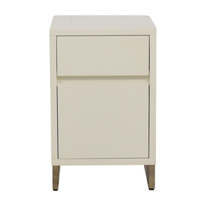 West Elm West Elm White Single Drawer with Storage Nightstand for sale