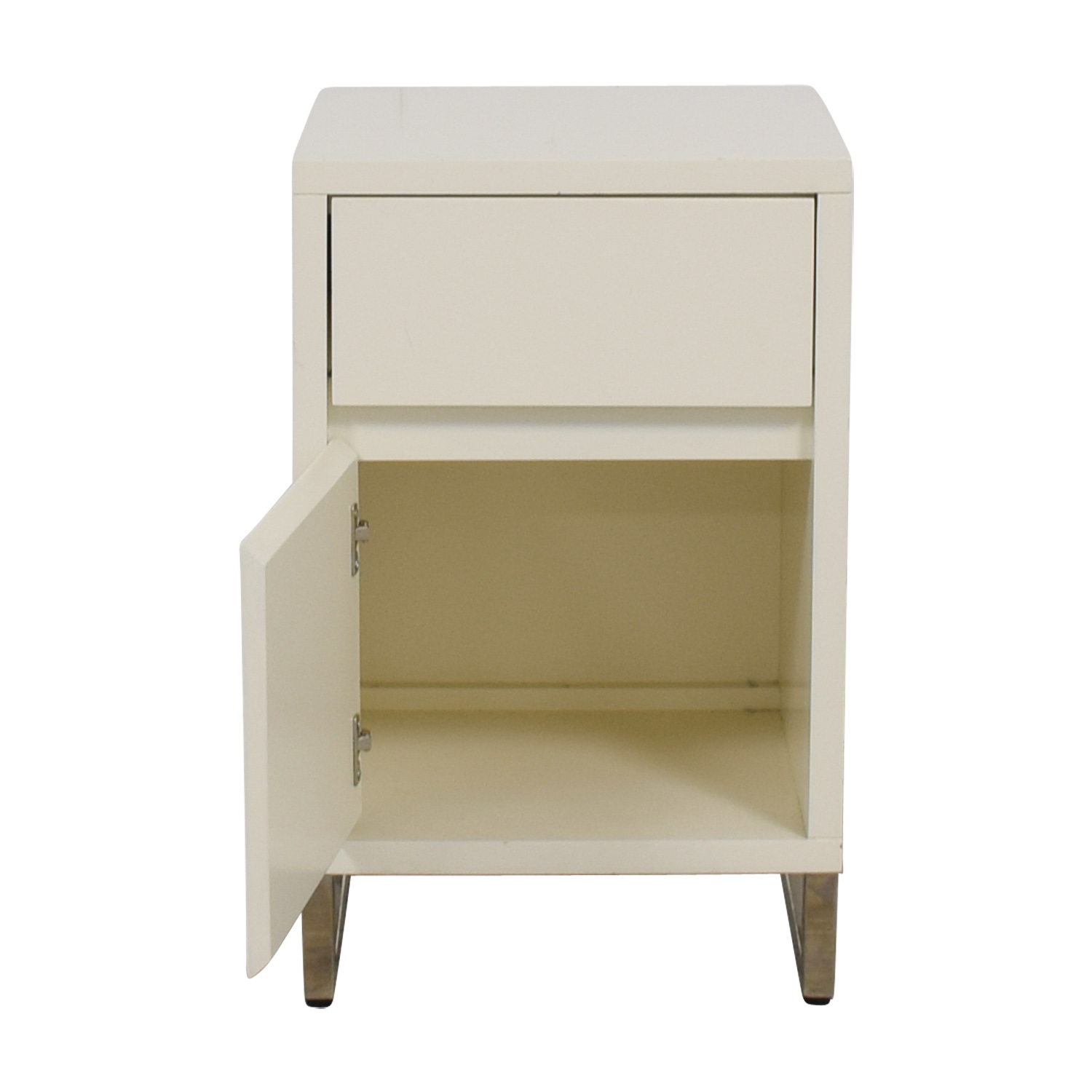 West Elm West Elm White Single Drawer with Storage Nightstand price