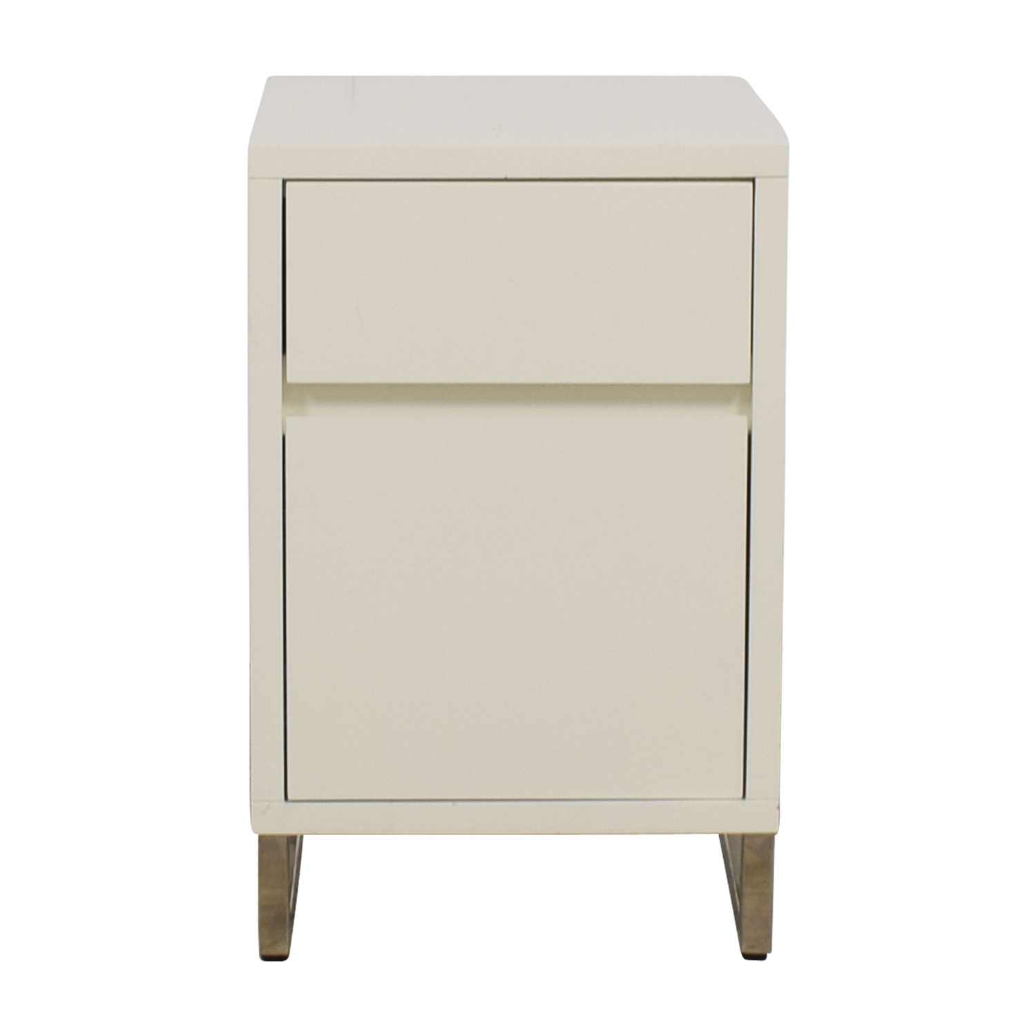 West Elm White Single Drawer with Storage Nightstand sale