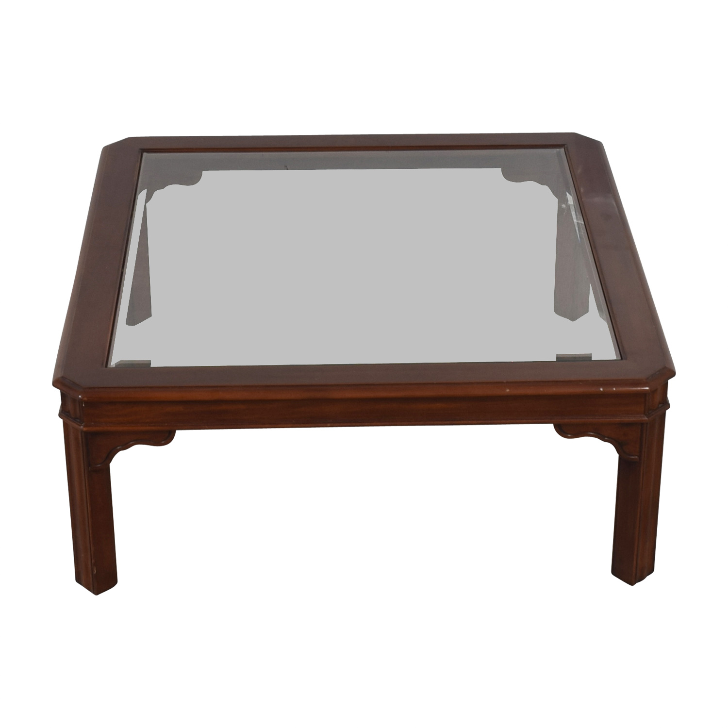 Shop Glass Top And Wood Coffee Table Coffee Tables