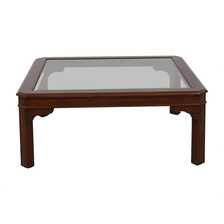 shop Glass Top and Wood Coffee Table  Tables