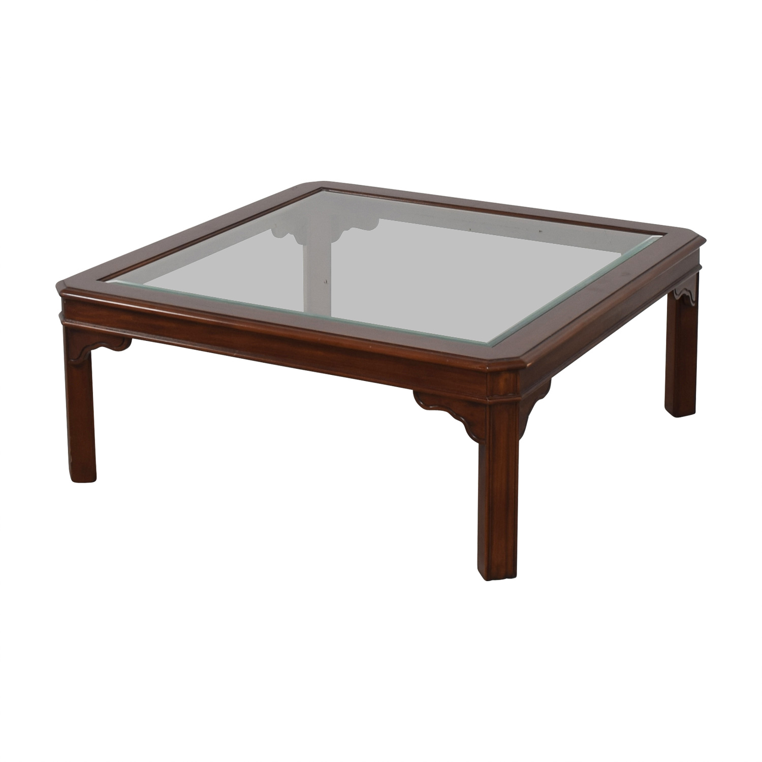 46% off - glass top and wood coffee table / tables Table Coffee Table