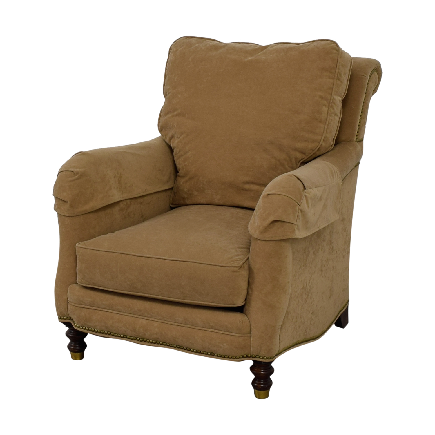 Oversuffed Accent Chair: Beige Overstuffed Accent Chair / Chairs