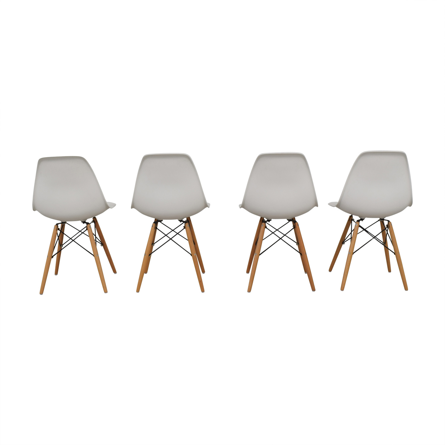 Rove Concept Eames Replica Dowel Leg White Molded Dining Chairs / Dining Chairs