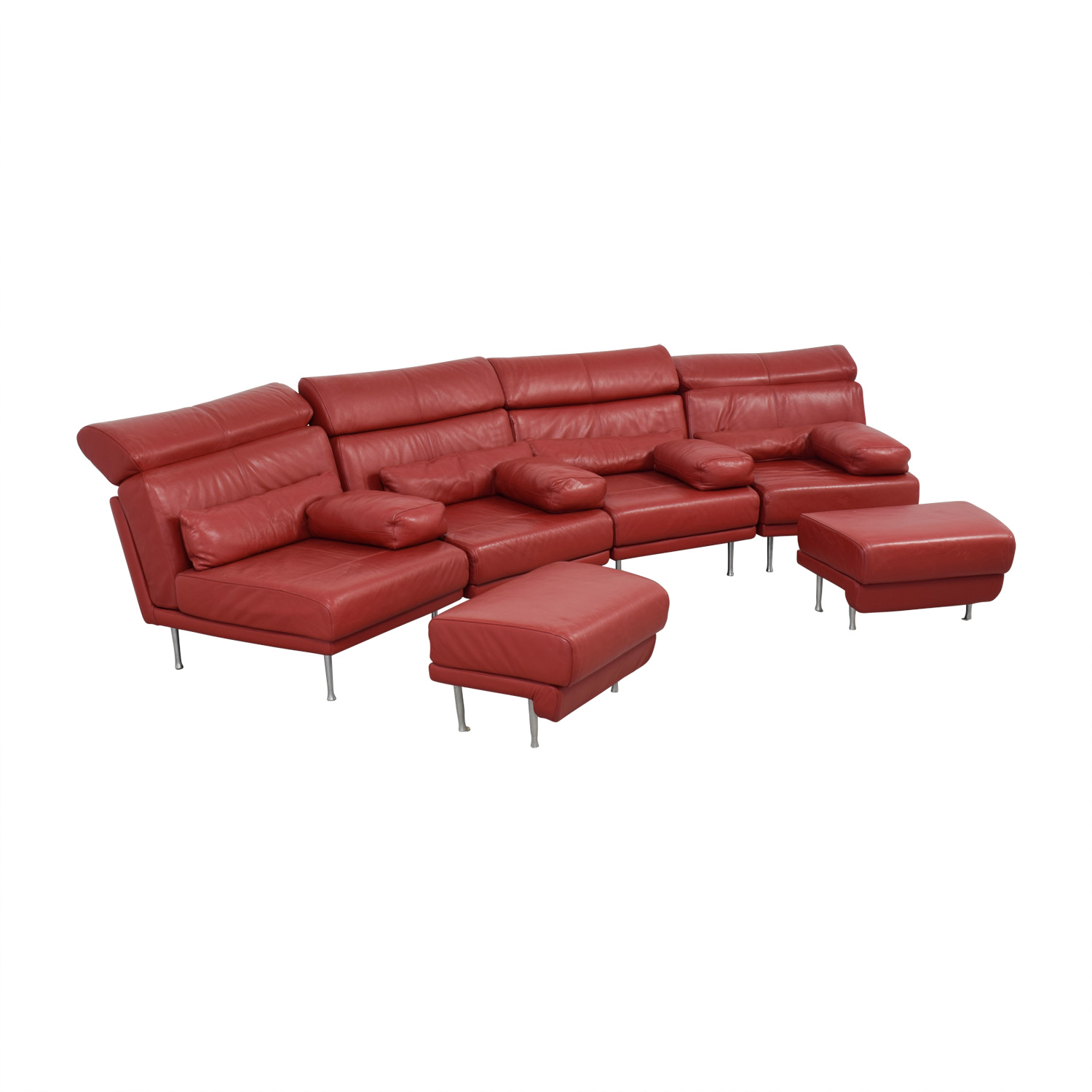 Natuzzi Red Leather Sectional With Two Ottomans Sectionals