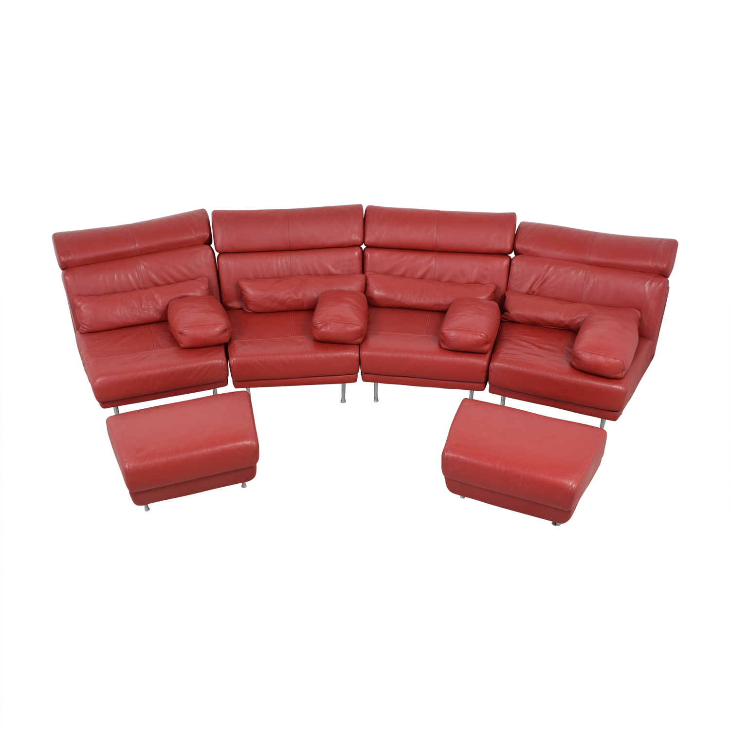 Natuzzi Natuzzi Red Leather Sectional with Two Ottomans discount