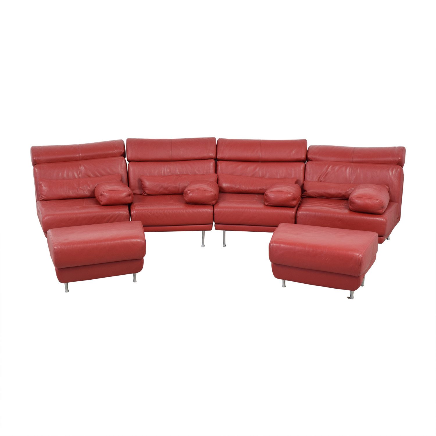 Natuzzi Red Leather Sectional With Two Ottomans Used