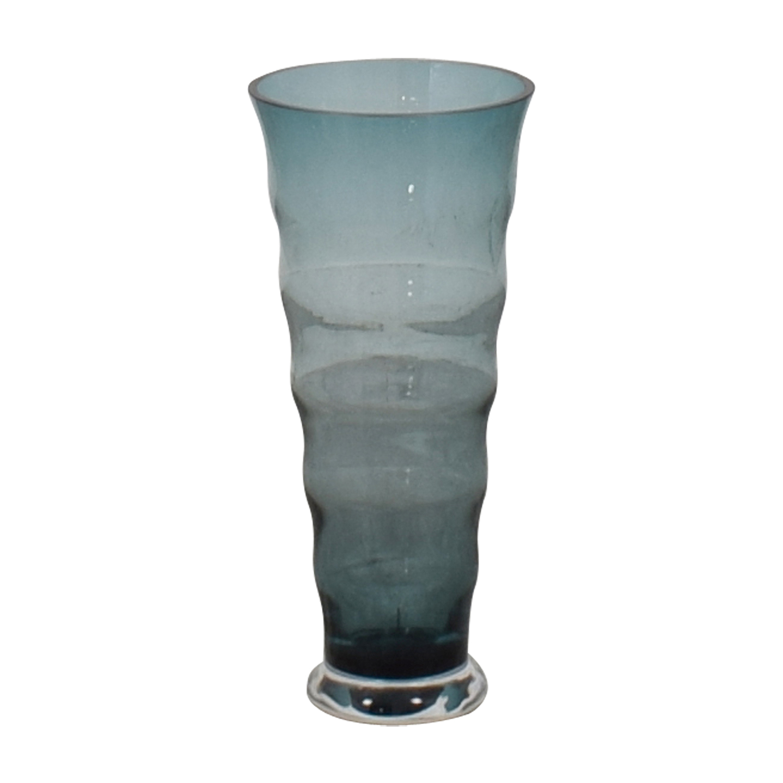 buy Aqua Blue Fluted Vase  Decorative Accents