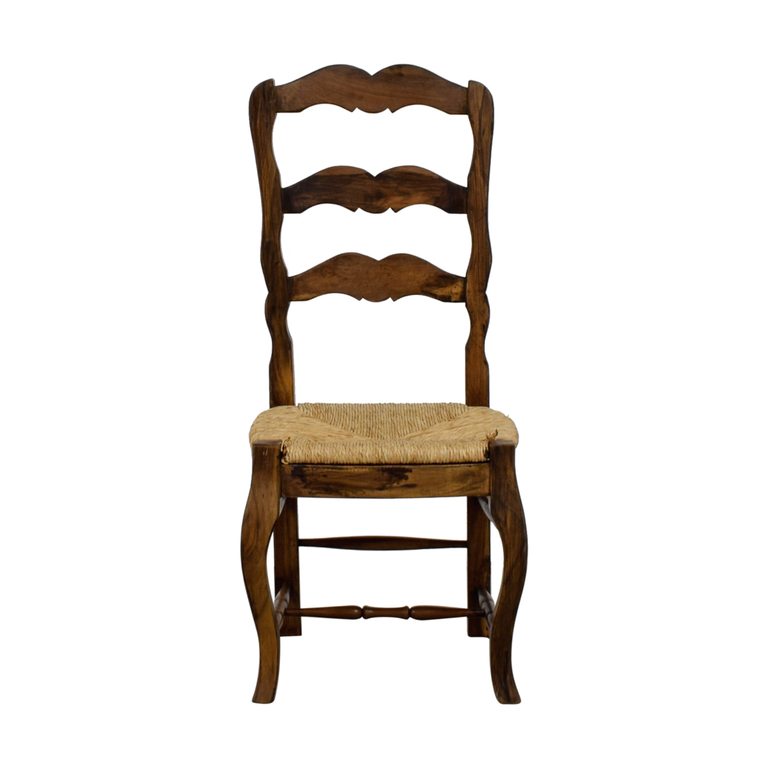 Vintage Ladder Back Straw Weaved Chair discount