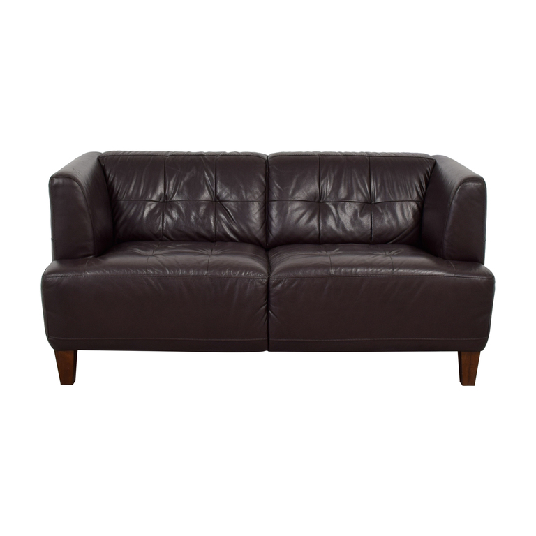 shop Macy's Alessia Brown Tufted Leather Loveseat Macy's