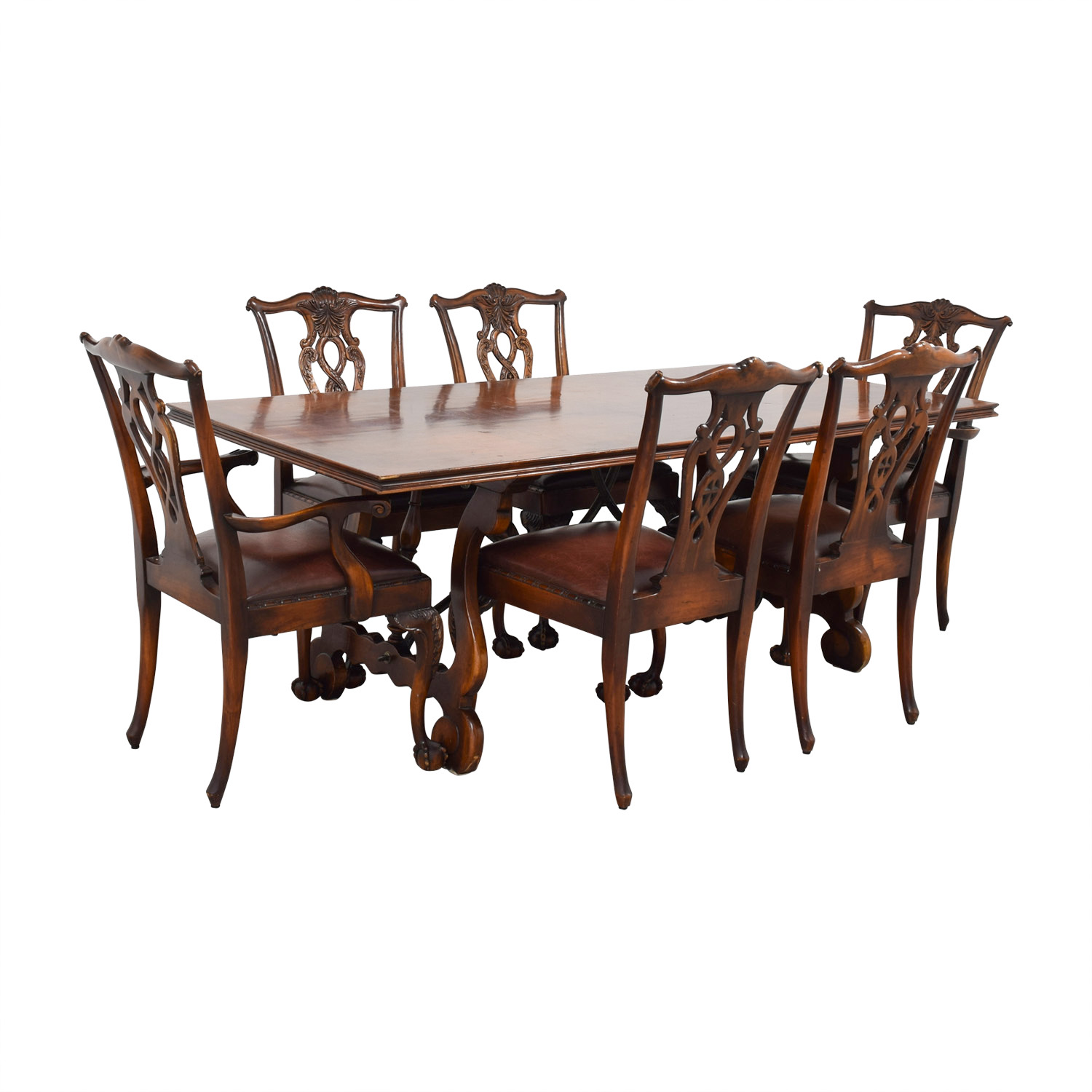 Carved Cherry Wood Dining Set With Leather Upholstered Chairs
