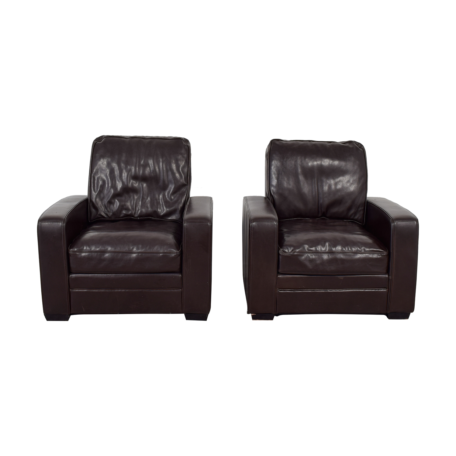 90% OFF - Overstock Overstock Brown Leather Accent Chairs / Chairs