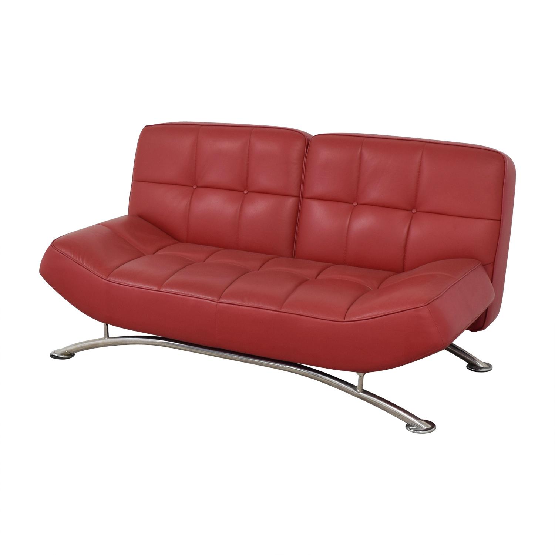 Superbe ... Vintage Red Tufted Leather Sofa ...