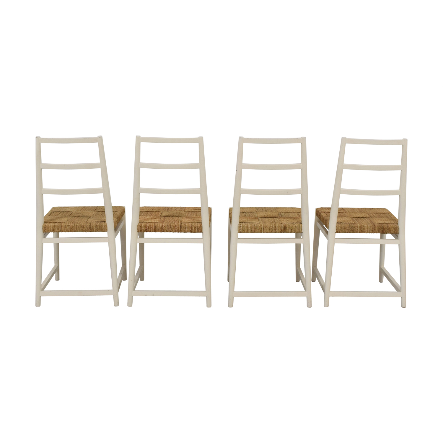 West Elm West Elm Painted White and Wicker Chairs for sale