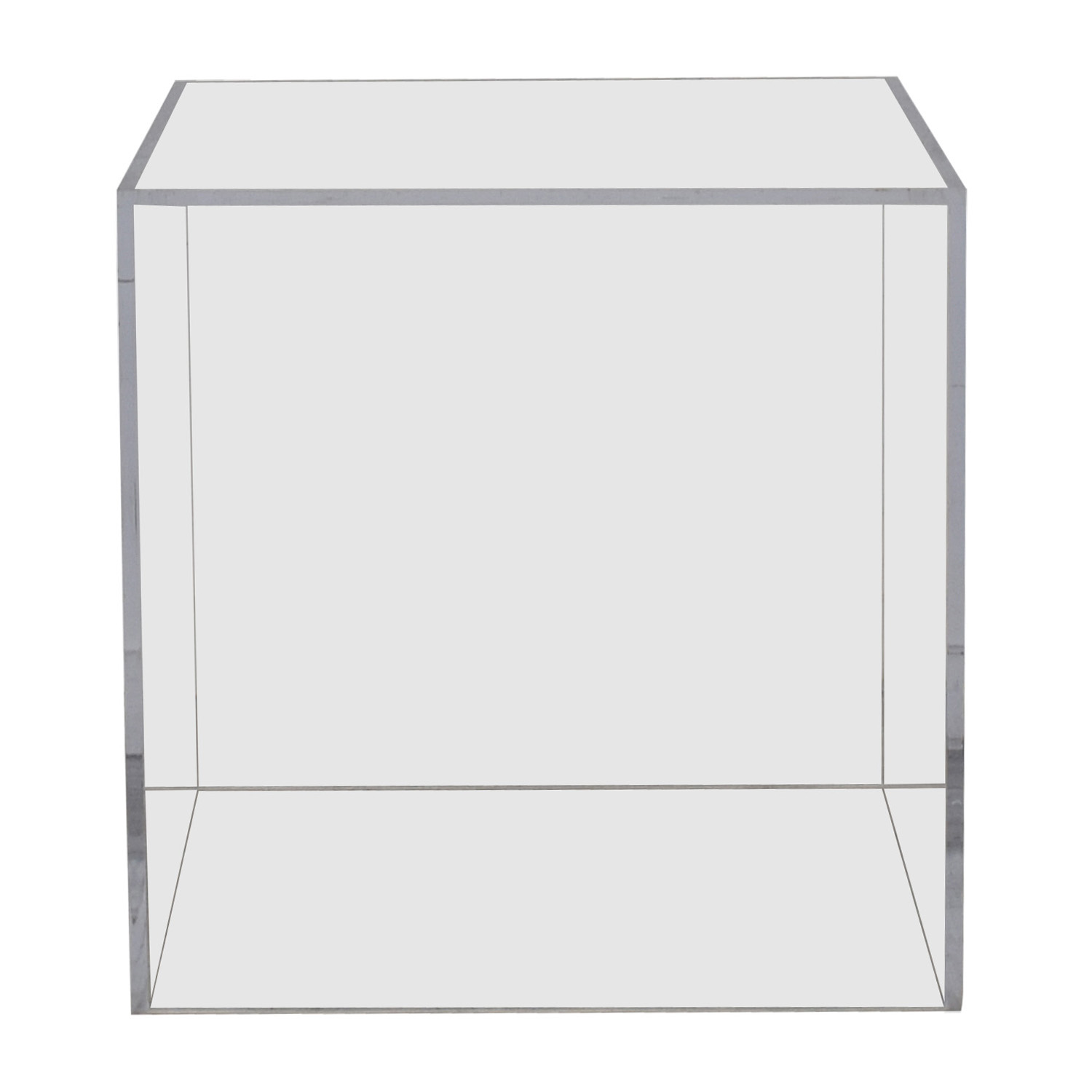 buy Vintage Lucite Ghost Cube Side Table