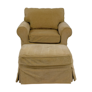 Mitchell Gold + Bob Williams Mitchell Gold + Bob Williams Beige Accent Chair and Ottoman for sale